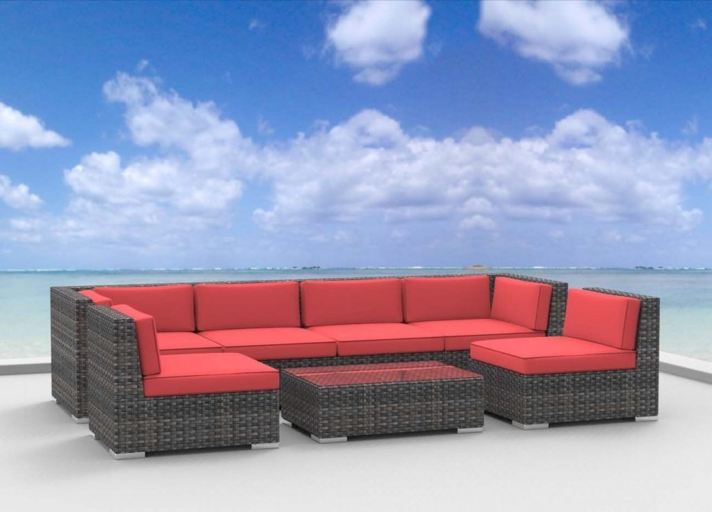 Patio Furniture Sectional Set Wicker Outdoor Sofa 7 Piece 5 Color