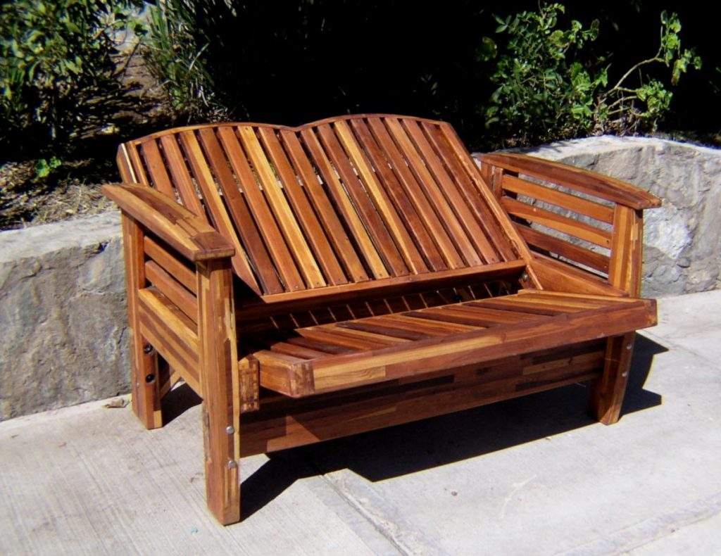 Reclining Redwood Loveseat Custom Outdoor Wood Recliners