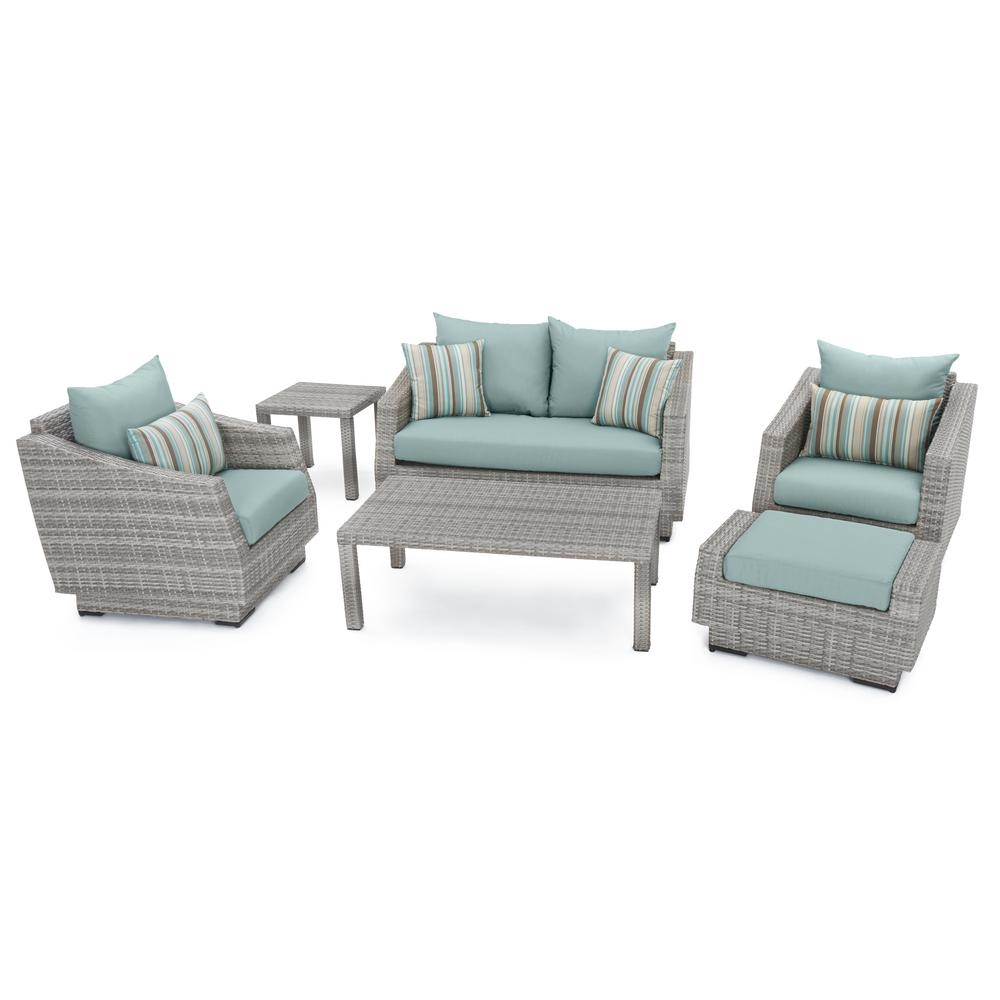 Rst Brands Cannes 6 Piece Patio Seating Set With Bliss Blue Cushions