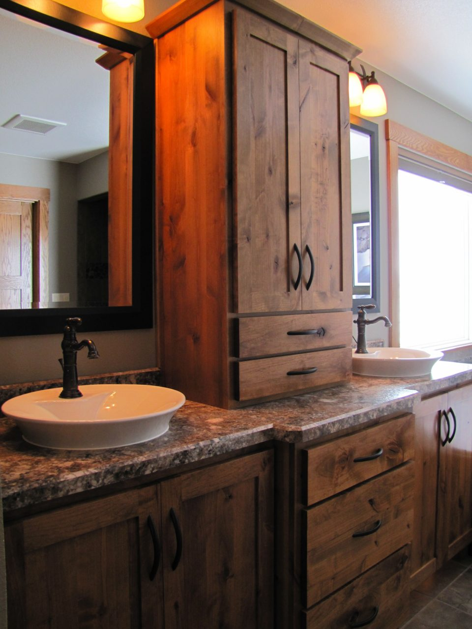 Rustic Bathroom Double Vanity Ideas Rustic Alder Cabinetry