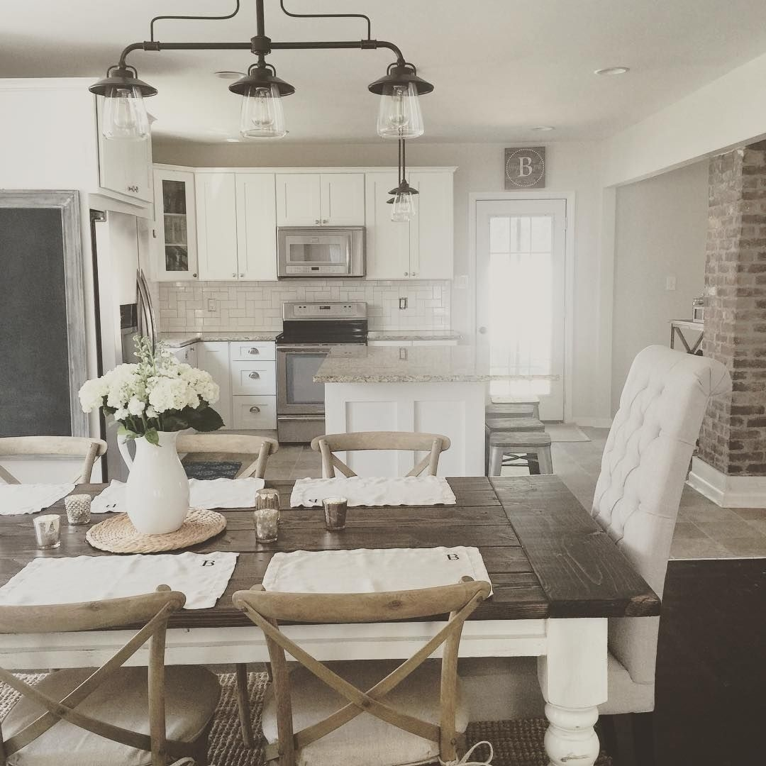 Rustic Modern Farmhouse With Farmhouse Table With A Wood Top And ...
