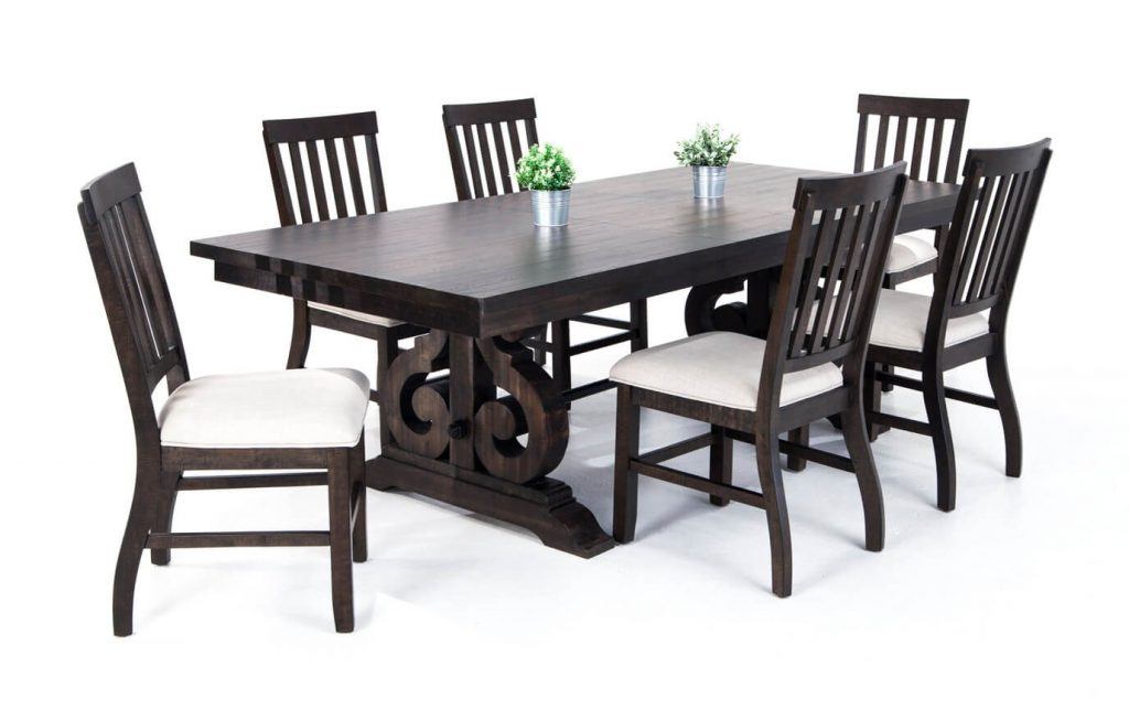 Sanctuary 7 Piece Dining Set With Slat Chairs Bobs Discount Furniture
