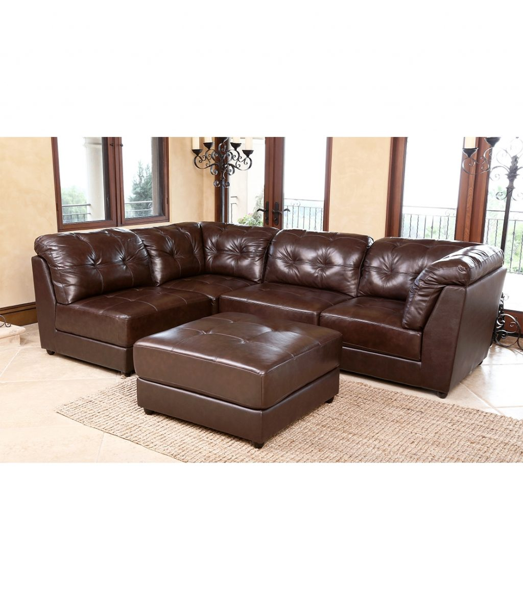 Sectionals Erica Leather Sectional Brown
