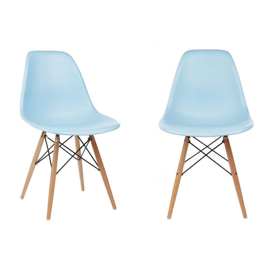Set Of 2 Eames Style Dsw Molded Light Blue Plastic Dining Shell