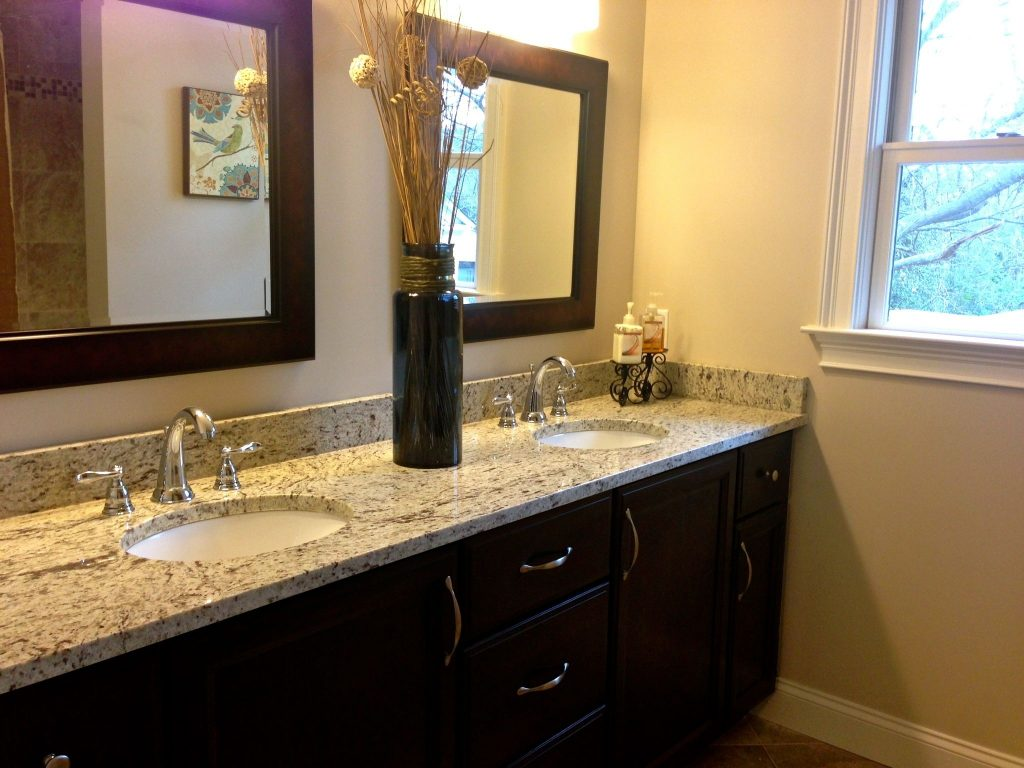 Shared Upstairs Bathroom Double Vanity Double Sinks Granite