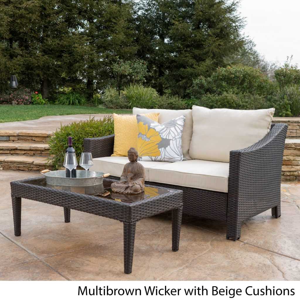 Shop Antibes Outdoor 2 Piece Wicker Sofa Set With Cushions