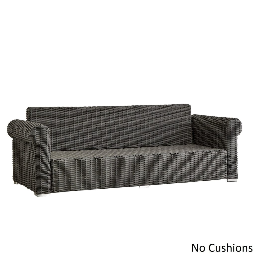 Shop Barbados Wicker Outdoor Cushioned Grey Charcoal Sofa With