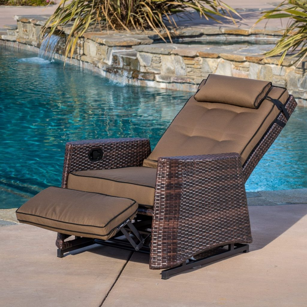 Shop Brown Wicker Outdoor Recliner Rocking Chair Christopher
