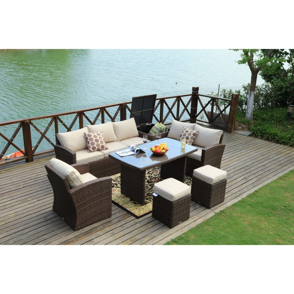 Shop Cannes Outdoor 7 Piece Patio Furniture Set With Side Storage