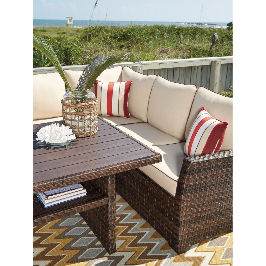 Shop Signature Design Ashley Salceda Brown Outdoor Sofa Set With