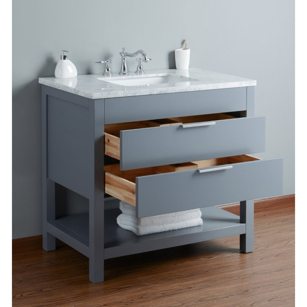 Shop Stufurhome Rochester 36 Inch Grey Single Sink Bathroom Vanity