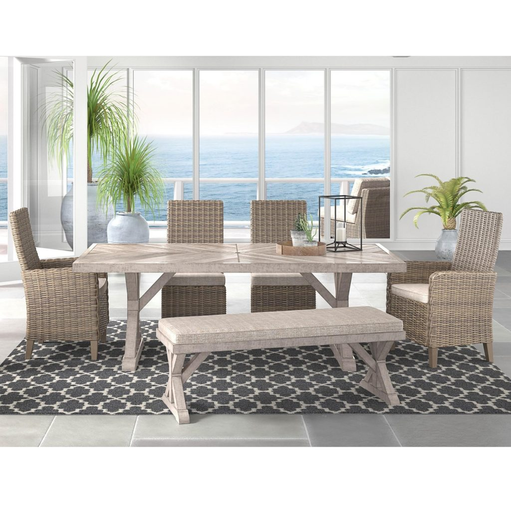 Signature Design Ashley Beachcroft 6 Piece Outdoor Dining Set