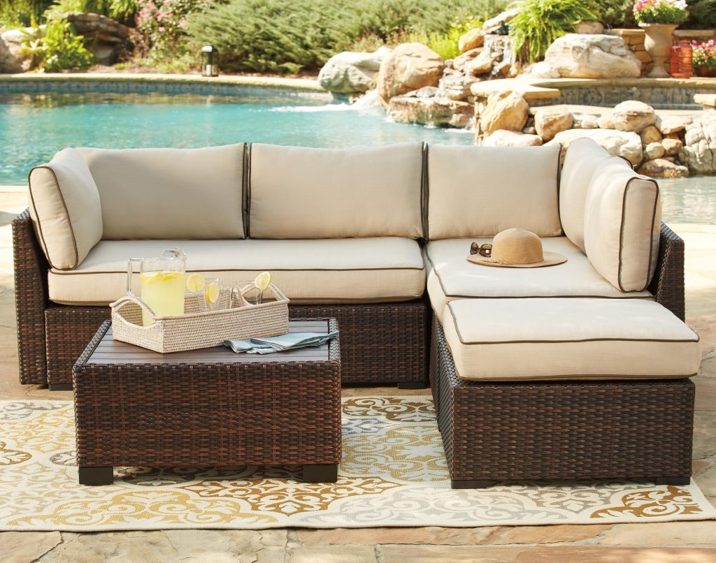 Signature Design Ashley Loughran Outdoor Sectional Set With