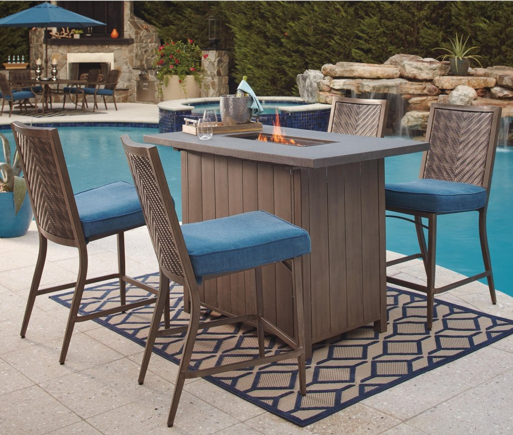 Signature Design Ashley Partanna 5 Piece Bar Table With Fire Pit