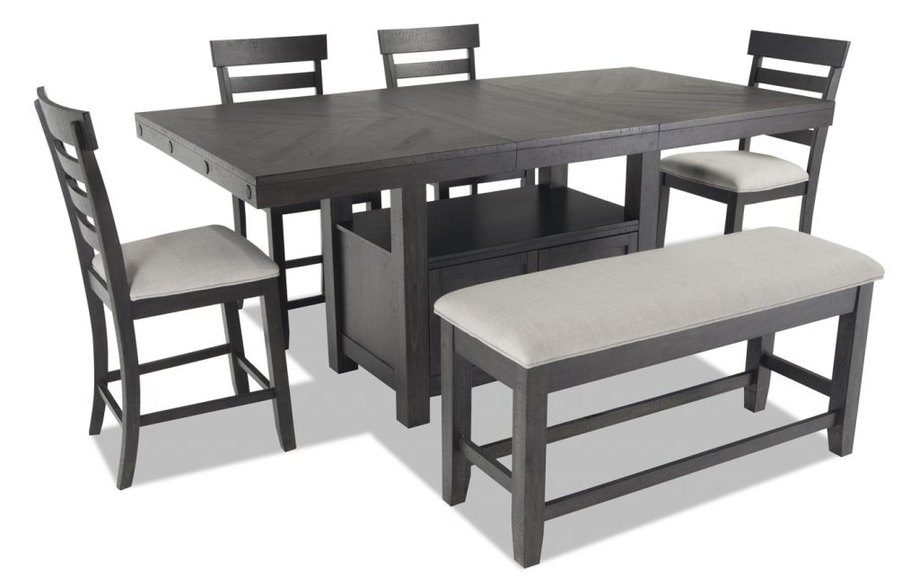 Sonoma 6 Piece Counter Set With Storage Bench Bobs Discount Furniture