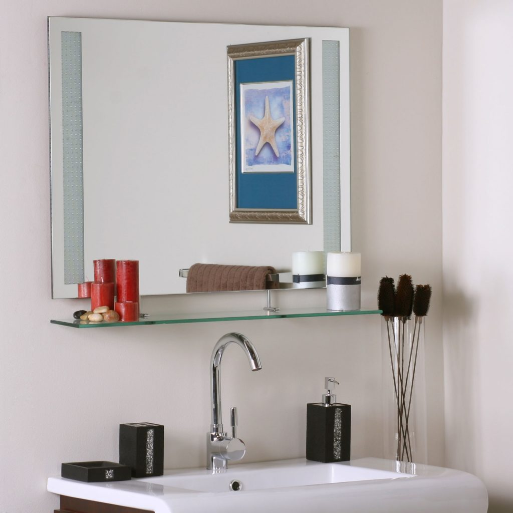 Square Frameless Bathroom Mirror With Floating Shelf Underneath Of