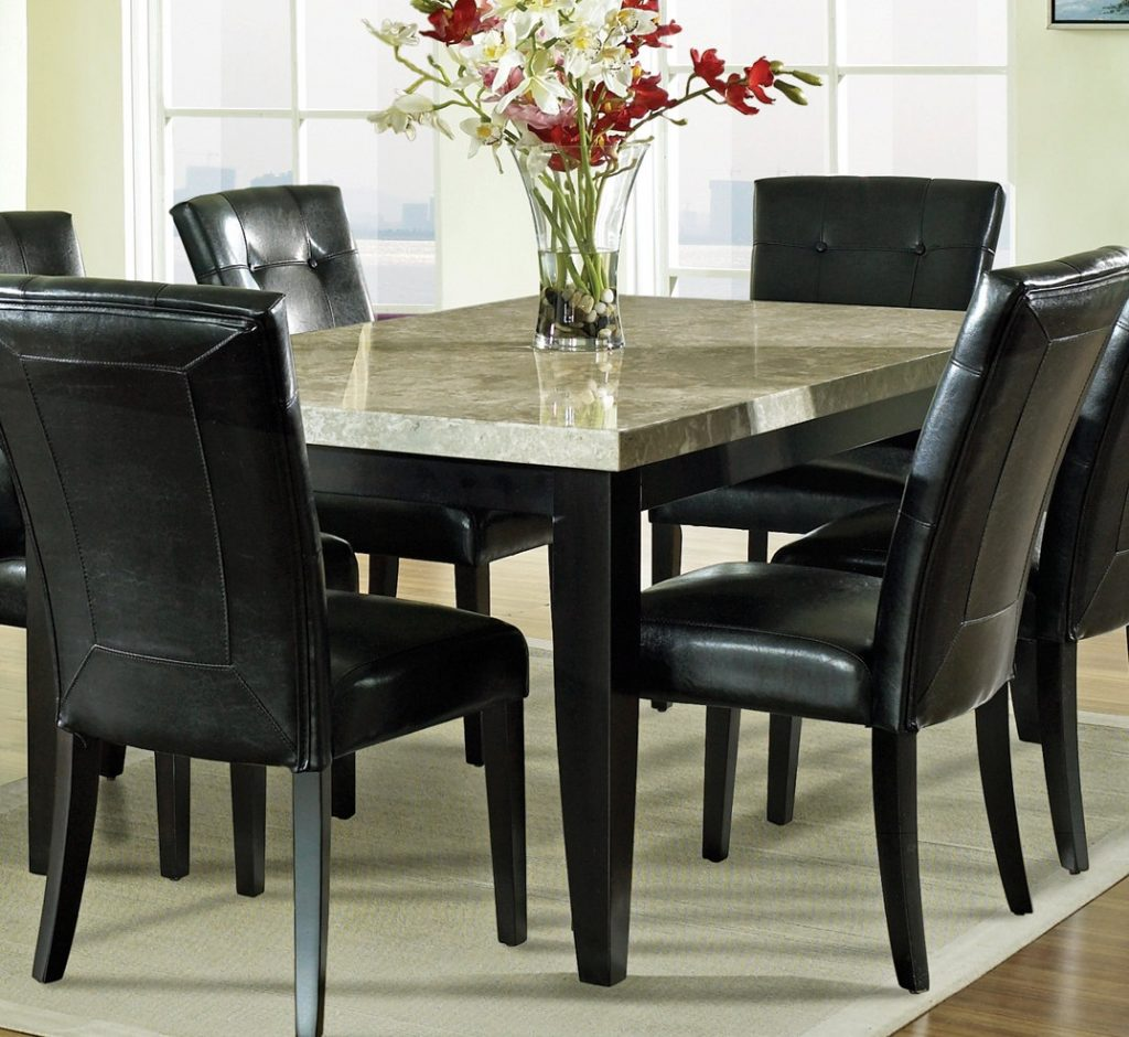 Steve Silver Monarch 7 Piece Marble Top Dining Room Set Beyond Stores
