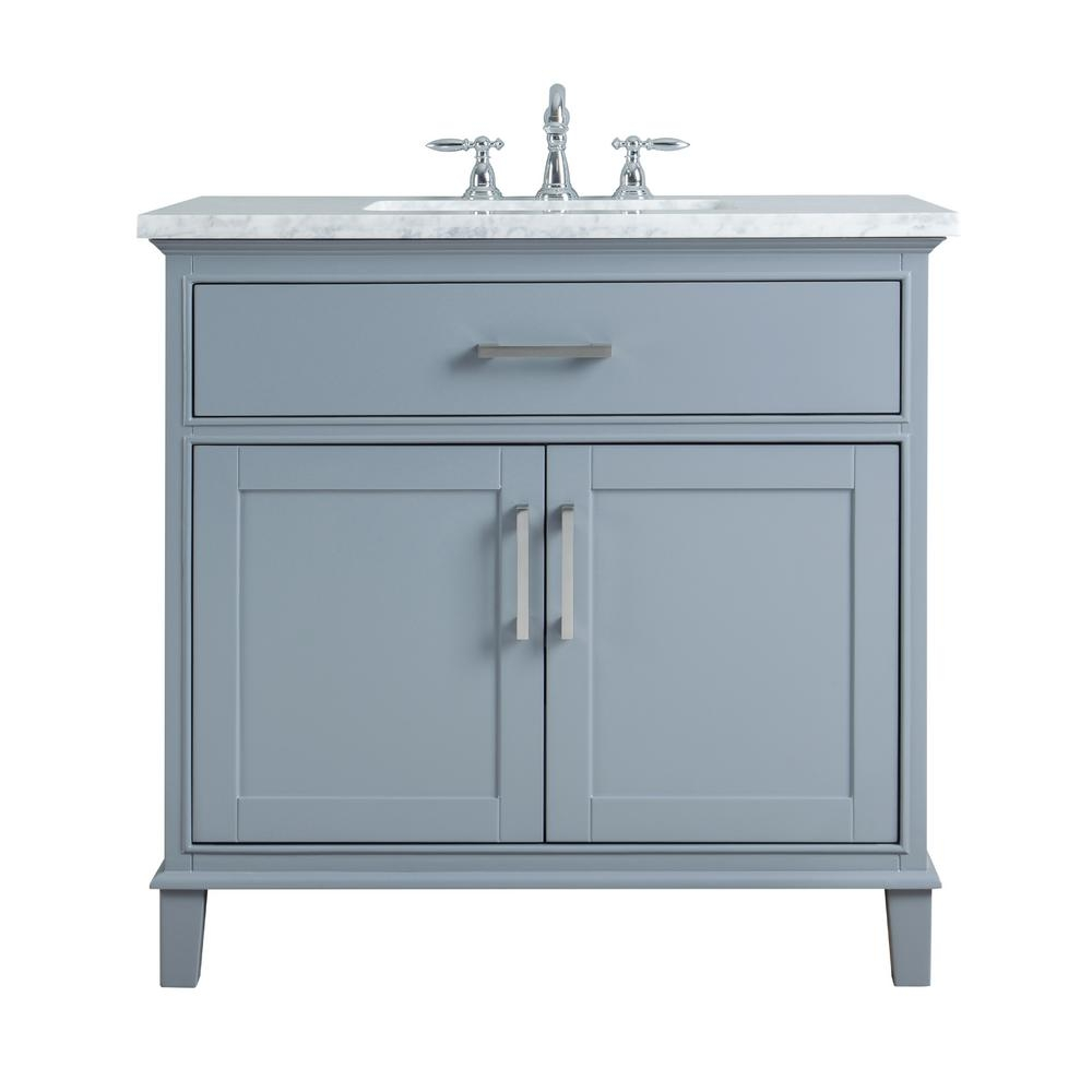 Stufurhome 36 In Leigh Single Sink Bathroom Vanity In Grey With
