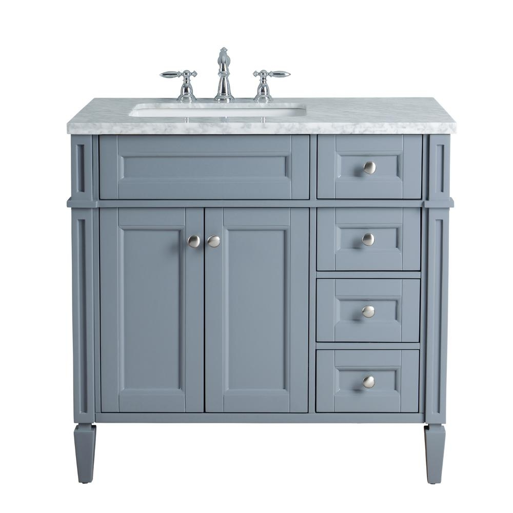 Stufurhome Anastasia French 36 In Grey Single Sink Bathroom Vanity
