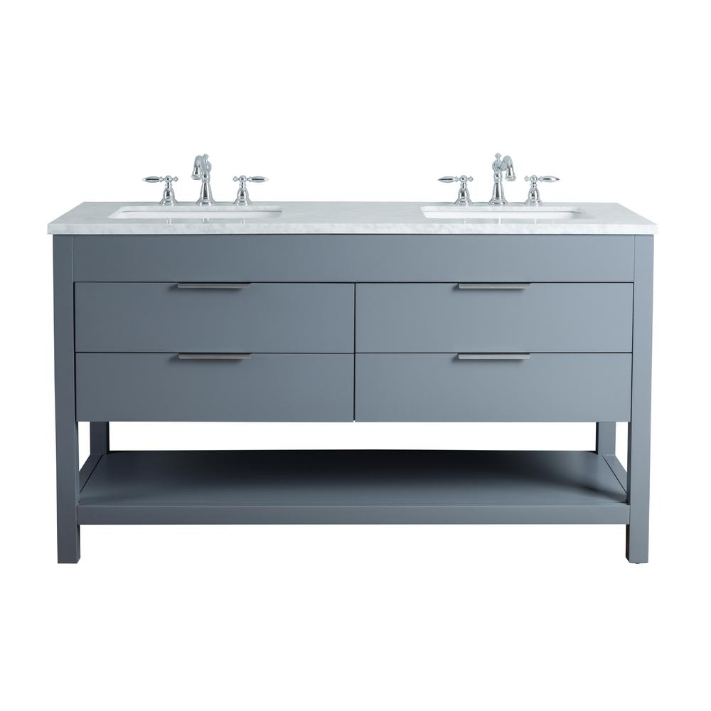 Stufurhome Rochester 60 In Grey Double Sink Bathroom Vanity With