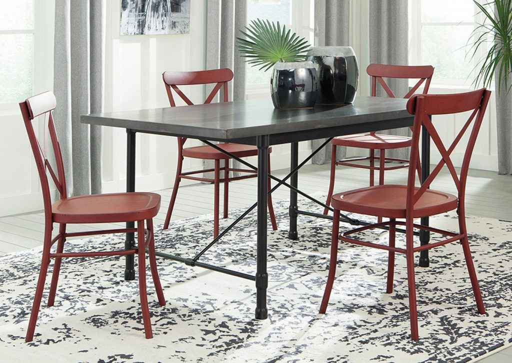 Utah Furniture Direct Minnona Aged Steel Rectangular Dining Table W