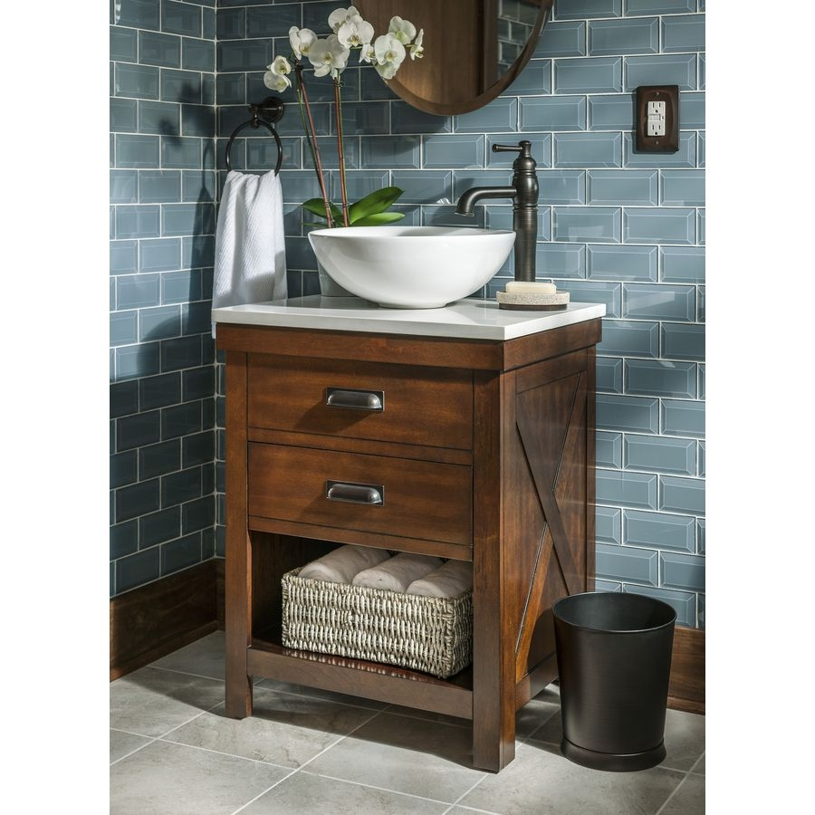 Vessel Single Sink Poplar Bathroom Vanity With Engineered Stone Top