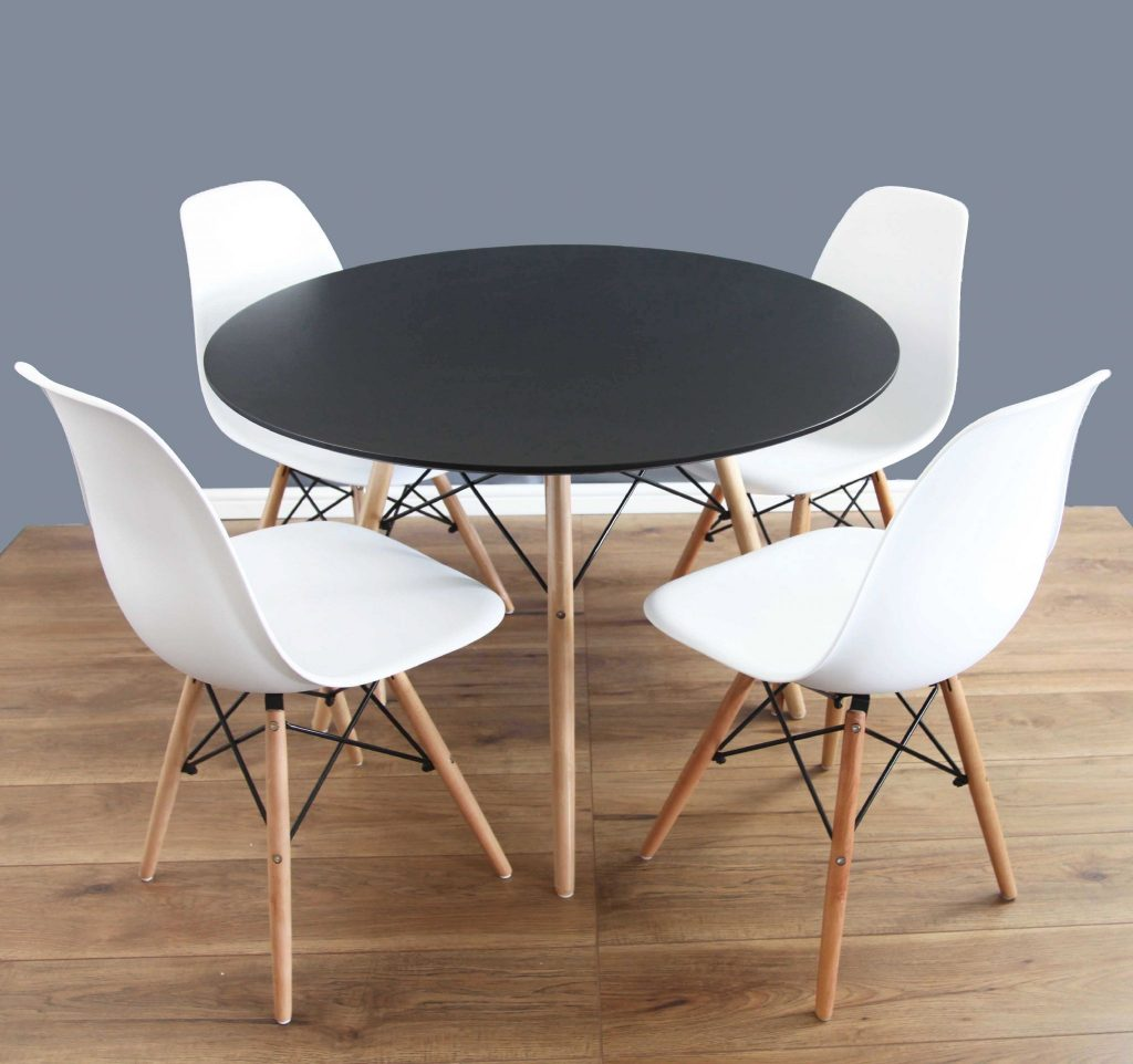 White Round Dining Table And Chairs Set 80cm 2 Eames Dsw White