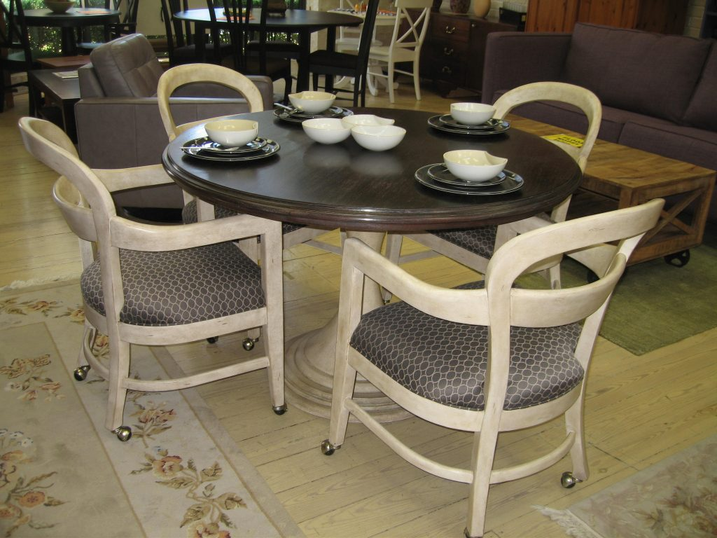 White Wooden Dining Chair With Grey Leather Seat Cover And Wheel