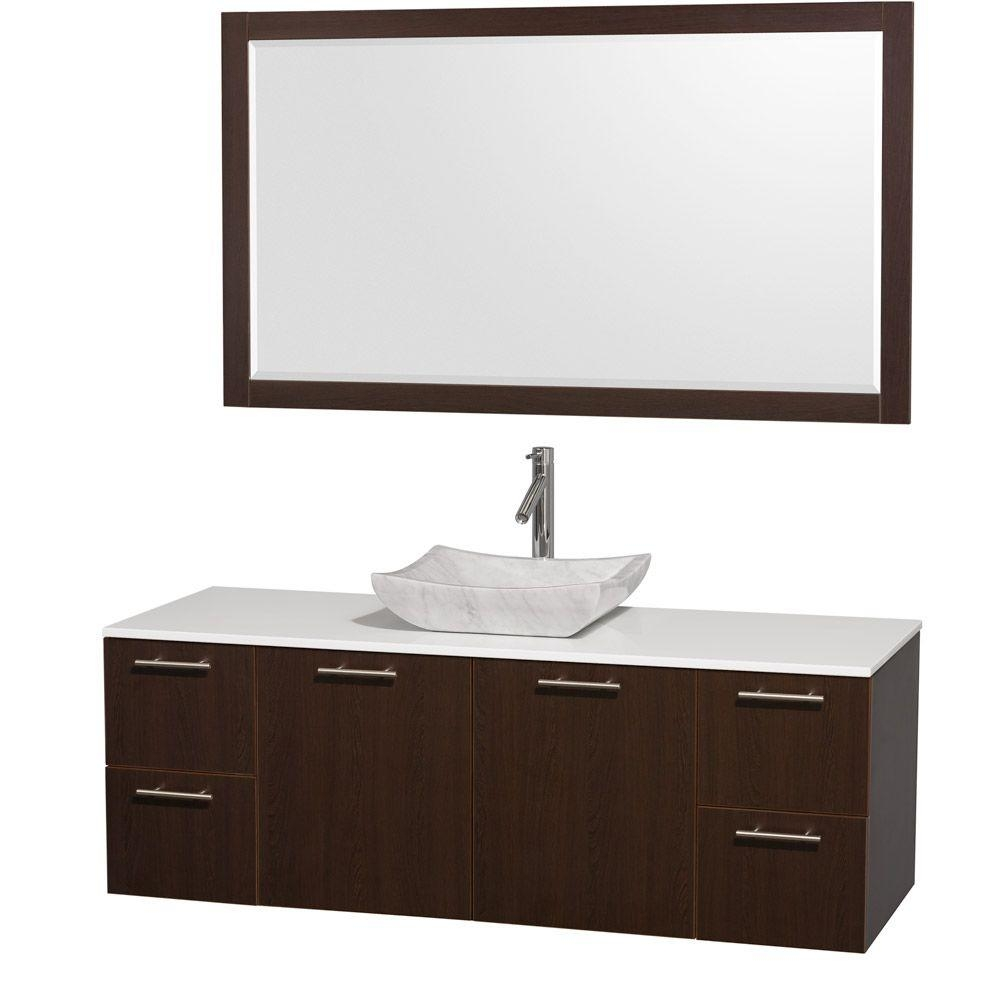 Wyndham Collection Amare 60 In Vanity In Espresso With Man Made
