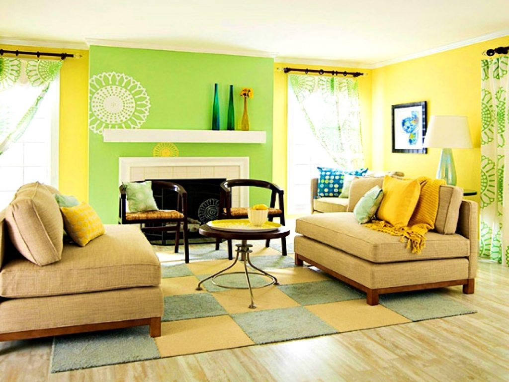 Yellow Blue Walls Paint Design Artnak