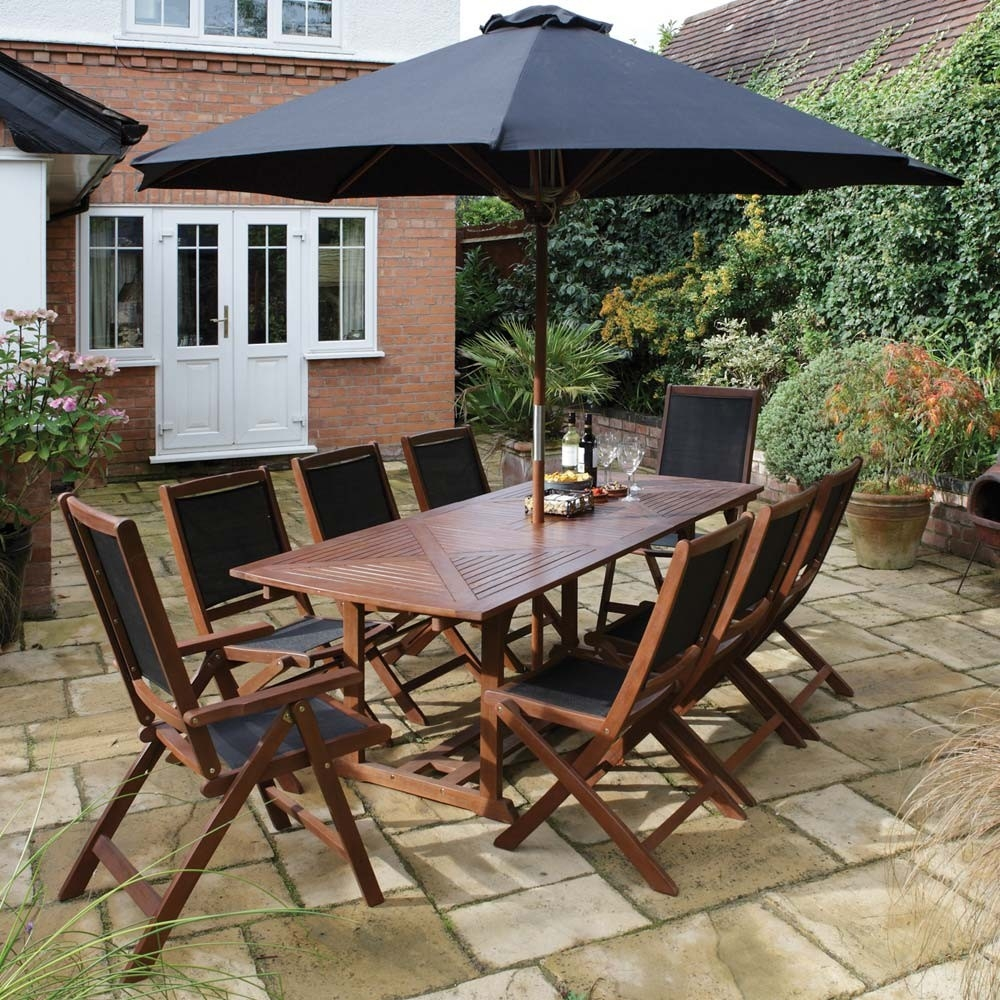 10 Piece Hardwood Table Chair Parasol Garden Dining Set From