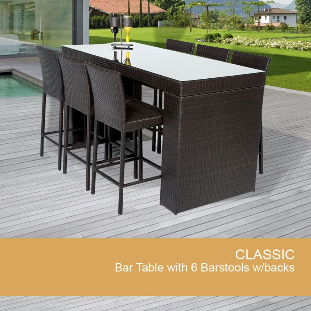 7 Piece Outdoor Bar Set Wicker Bar Table Design Furnishings