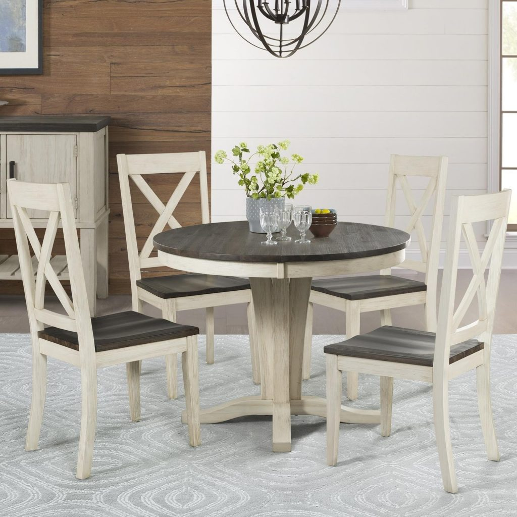 Aamerica Huron 5 Piece Pedestal Table And X Back Chair Set Wayside