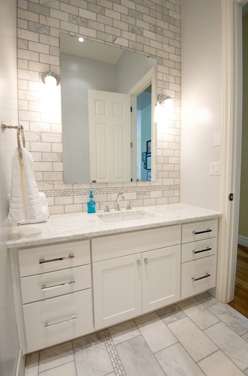 Adorable Subway Tile Backsplash Bathroom Bathroom Vanities Miami