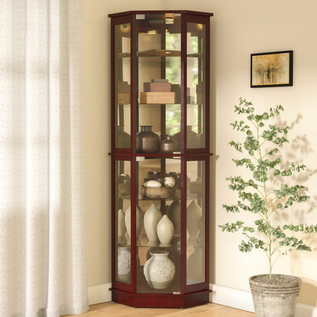 Andover Mills Biali Lighted Corner Curio Cabinet Reviews Wayfair