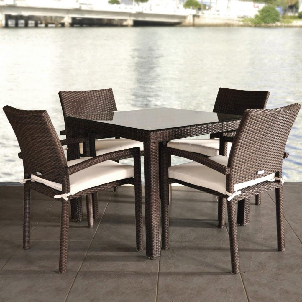 Atlantic Liberty 4 Person Resin Wicker Patio Dining Set With Glass