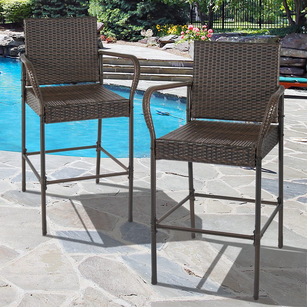 Best Choice Products Set Of 2 Outdoor Brown Wicker Barstool Outdoor