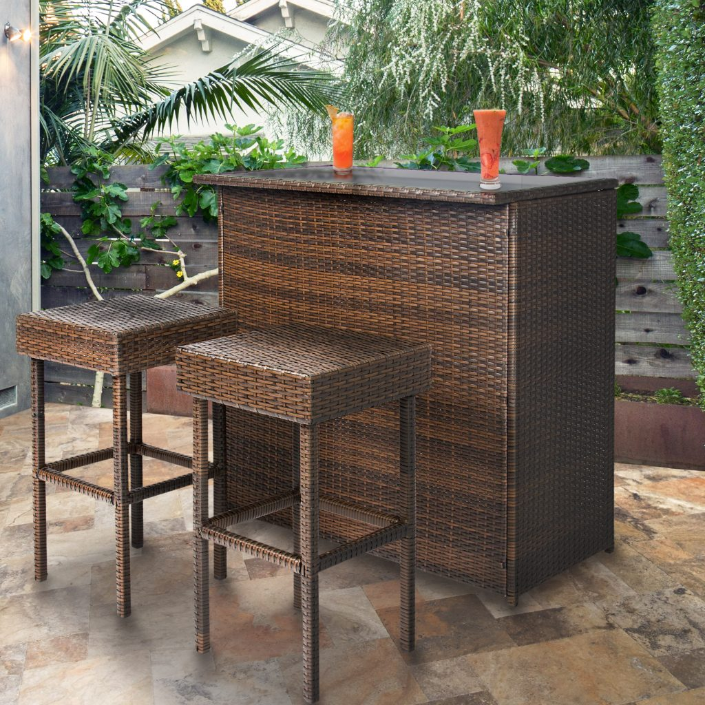 Best Choice Products Wicker 3 Piece Outdoor Bar Set Walmart