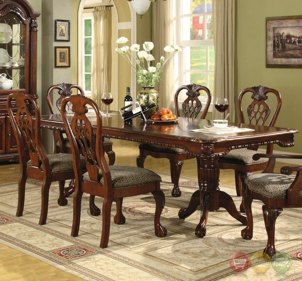 Brussels Formal Dining Room 7 Piece Furniture Set Traditional Dark