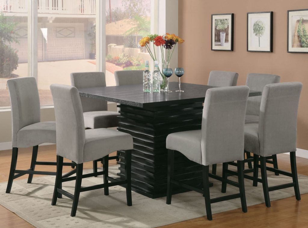 Coaster Stanton 9pc Counter Height Dining Set In Black With Gray