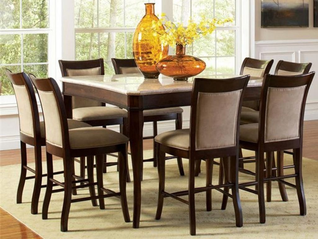 Contemporary Marble Top 54 Counter Height 9 Piece Dining Table And