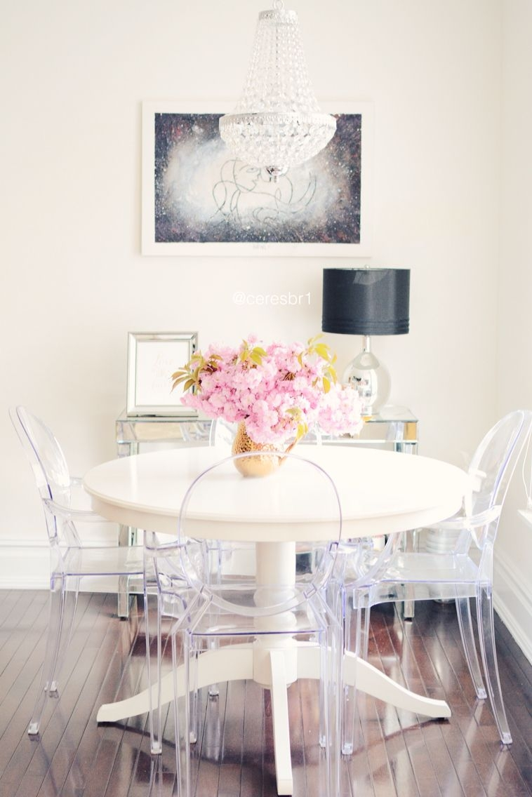 Customer Designed White Dinning Table Ghost Chairs Brass Accents