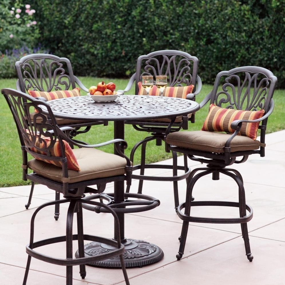 Darlee Elisabeth 5 Piece Cast Aluminum Patio Bar Set With Swivel Bar