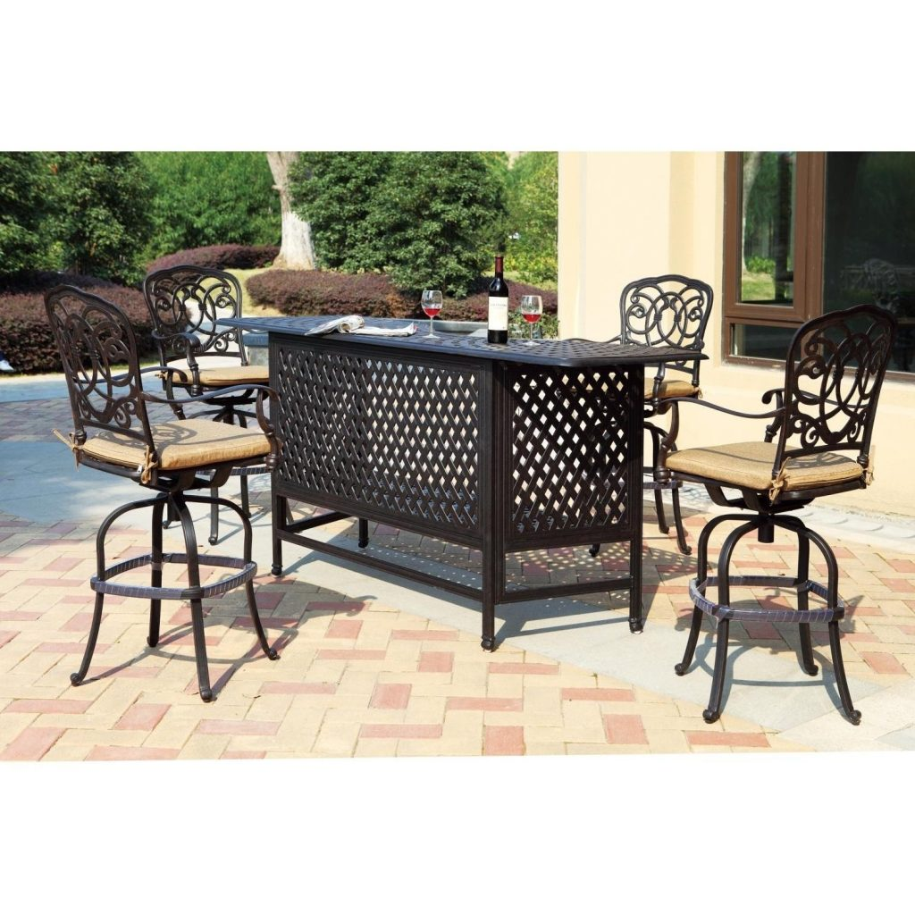 Darlee Florence 5 Piece Cast Aluminum Patio Party Bar Set With