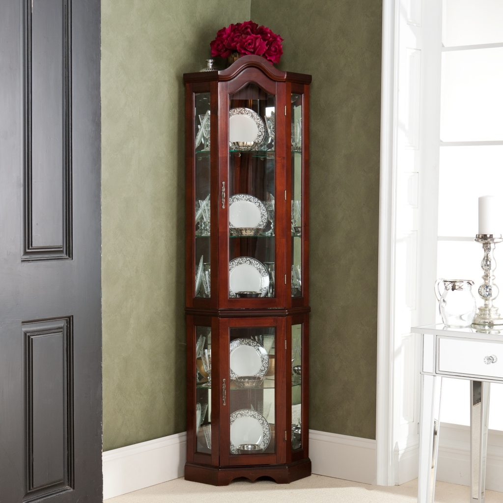 Furniture Mission Style Curio Cabinet Black Corner Display Dining