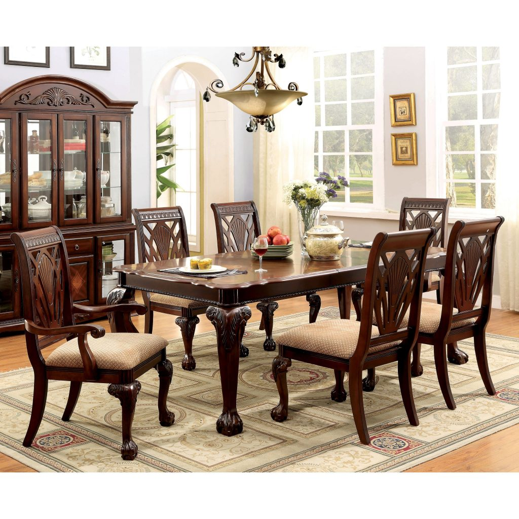 Furniture Of America Ranfort Formal 7 Piece Cherry Dining Set