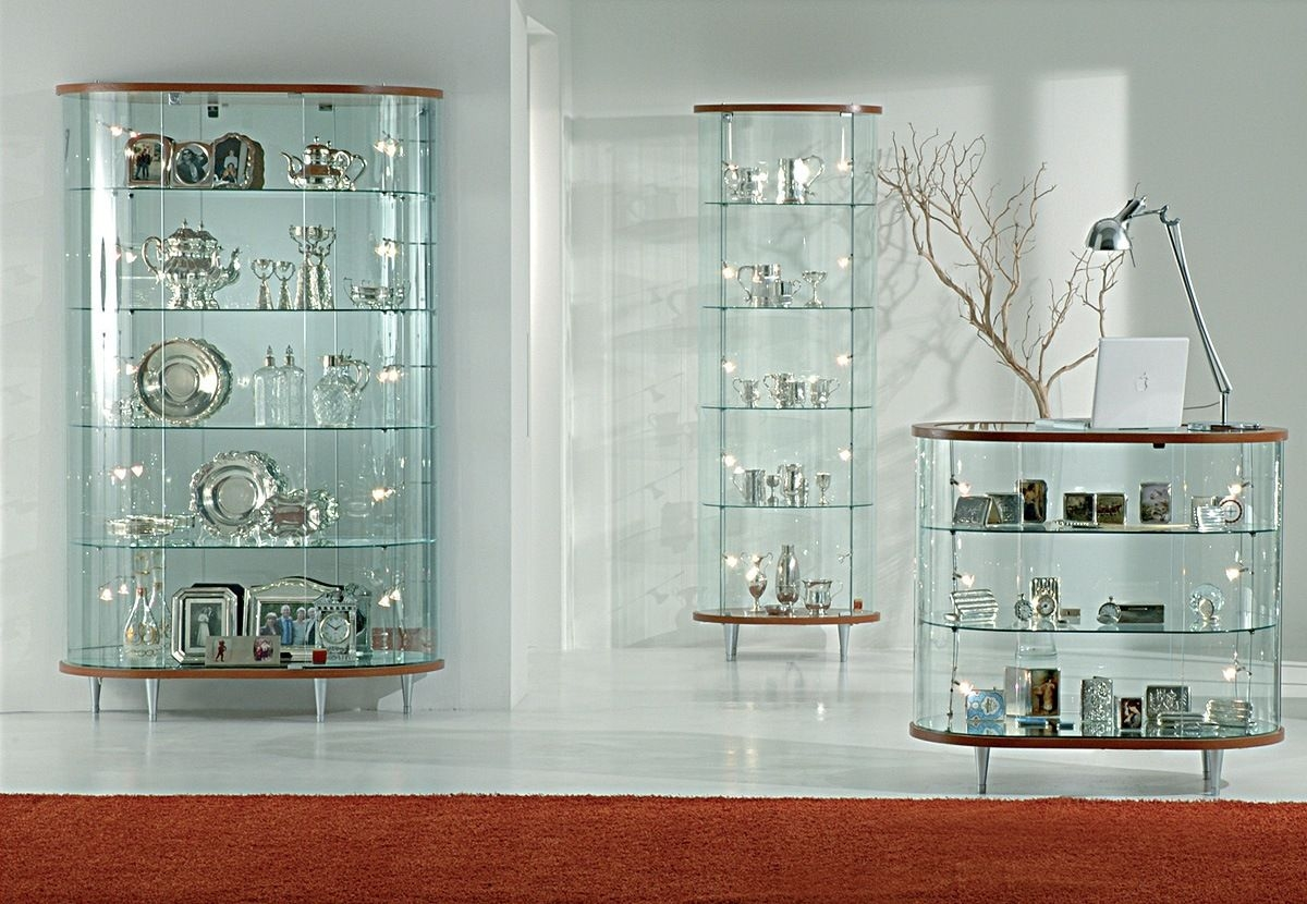 Glass Display Cabinet Showcases With Wooden Structure Glass