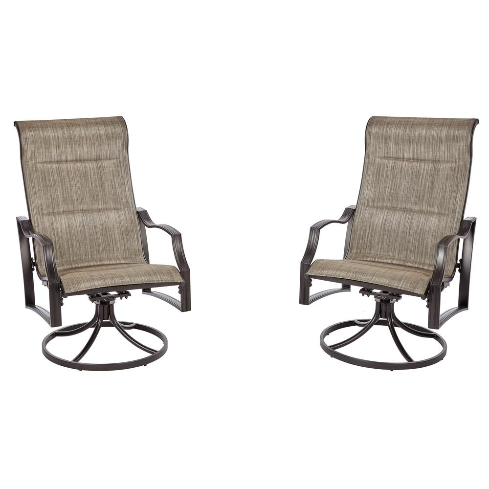 Hampton Bay Statesville Pewter Swivel Aluminum Sling Outdoor Lounge