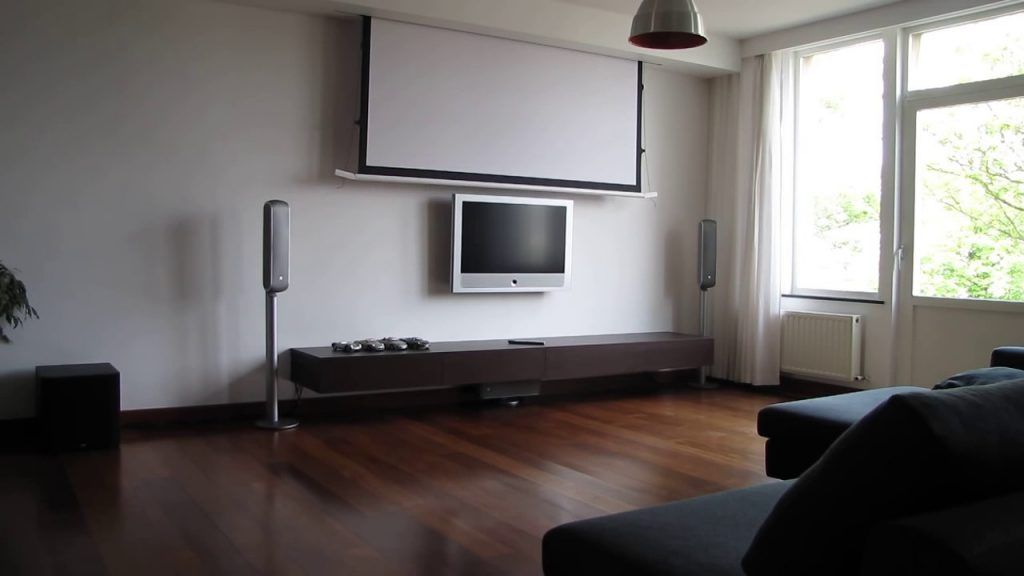 Hidden Tensioned Electric Projection Screen In Living Room Home Cinema