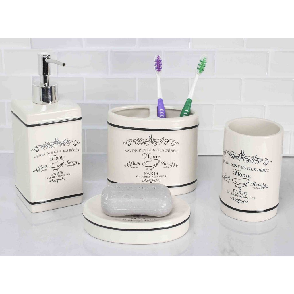 Home Basics 4 Piece Paris Bathroom Accessory Set Walmart